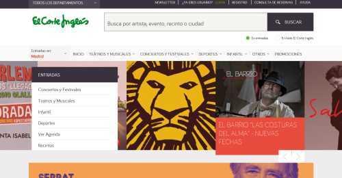 Screenshot Entradas El Corte Inglés
