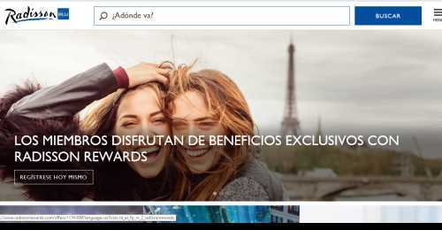 Screenshot Radisson Hotels