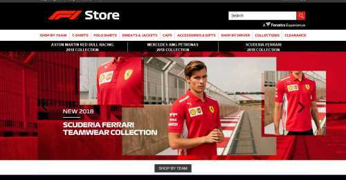 Screenshot The Formula 1 Store