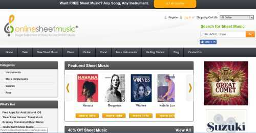 Screenshot OnlineSheetMusic