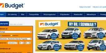 Screenshot Budget Biluthyrning