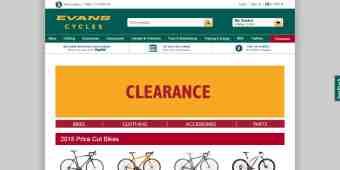 Screenshot Evans Cycles