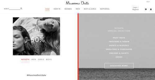 Screenshot Massimo Dutti