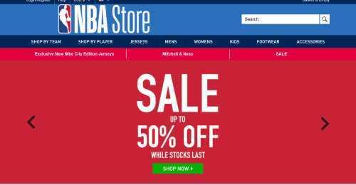 Screenshot NBA Store